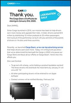 Cargo Note from CEO